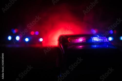 Police cars at night Canvas Print