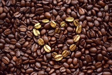 Kawa, ziarna kawy, złota kawa