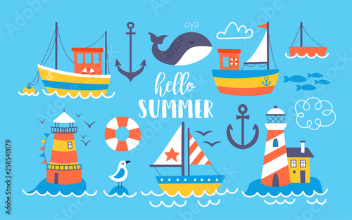 Fotografía Cute boats and lighthouse summer set.