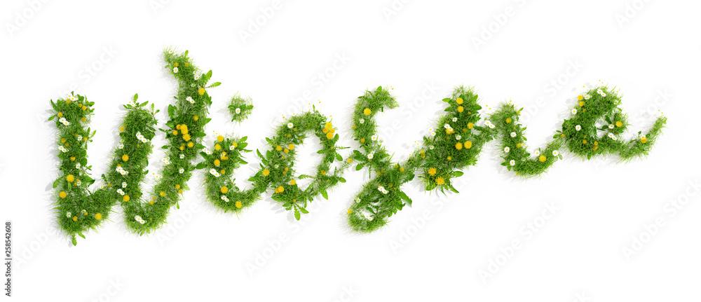 Fototapeta napis wiosna utworzony z trawy i kwiatów, 3D render