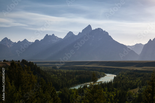 View of the Snake River Valley in the Grand Teton National Park, USA Canvas Print