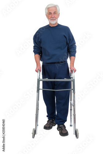 Photo  Happy Elderly Man With Walker Isolated on White