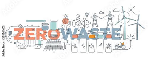 Fotografía  Handwritten doodle Zero Waste text title sign  Vector illustration set icons