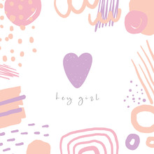 Cute Doodle Pink And Purple Card, Postcard, Tag, Poster With Heart, Abstract Elements.
