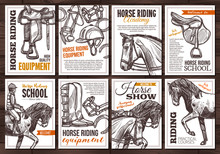 Collection Of Vector Hand Drawn Posterss For Horse Riding, School, Lessons, Equestrian Club Or Academy, Horseback Equipment. Monochrome Cards With Sketch Illustrations With Typography