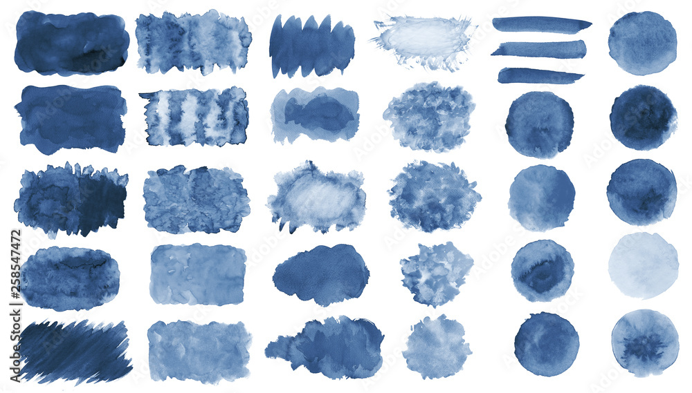 Fototapety, obrazy: Collection of hand-made blue watercolor painted brushes, smears, blobs, stains, circles, stripes, stickers, spot, blots, slick, web buttons, patch backgrounds creative decorative elements Isolated