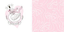 Design Set Of Print With Cute Princess Swan Bird And Doodle Ribbon Bows Seamless Background. Lovely Girlish Ballet Themed Pink Coloured Vector Graphics For Apparel T-shirt Print, Textile, Sleepwer