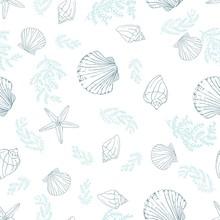 Seashell Seamless Pattern. Scallop Vector Background.