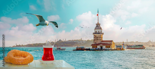 Turkish tea in the background of the maiden tower in Istanbul Wallpaper Mural