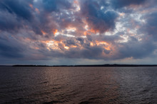 Sunset Over A Lake In Oklahoma.