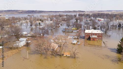 Photo The Town of Pacific Junction Iowa is completely Submerged in the Flood of March