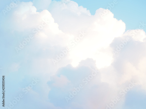 Fényképezés Big soft white puffy cloud on the blue sky