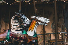 Retro French Carousel With Two Beautiful Horses. Close Up View.