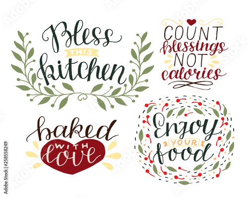 4 hand-lettering quotes about food Bless this kitchen Wallpaper Mural