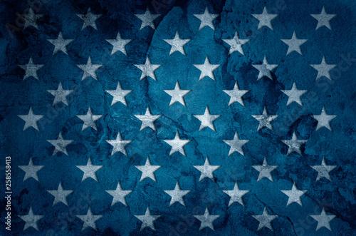 USA flag stars on grunge concrete wall background © adzicnatasa