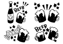 ビアガーデン ビールの手書きイラスト素材 ベクター セット