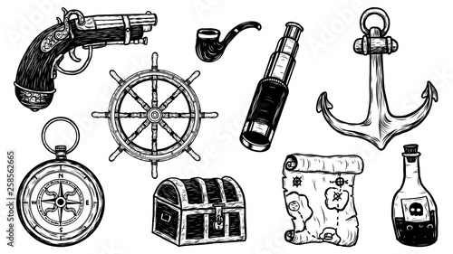 Valokuva  Pirate object vector tattoo by hand drawing
