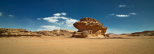 Nature And Rocks Of Wadi Rum Or Valley Of The Moon, Sphinx Rock, Desert, Jordan.
