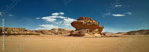 Cuadros en Lienzo Nature and rocks of Wadi Rum or Valley of the Moon, Sphinx rock, desert, Jordan