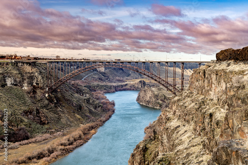 Classic view of the iconic Perrine bridge with the Snake River flowing beneath Wallpaper Mural