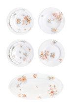 Set Of Antique Porcelain Plates Isolated With Clipping Path