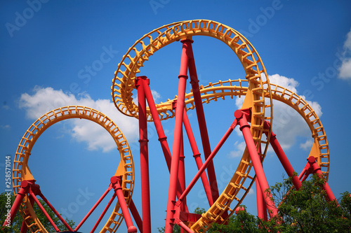La pose en embrasure Attraction parc Looping Roller Coaster