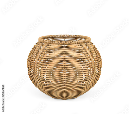 Rattan basket isolated on white background, 3D Rendering
