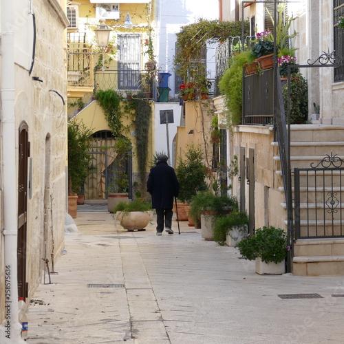 Anziano signore con bastone. Adelfia, sud Italia Wallpaper Mural
