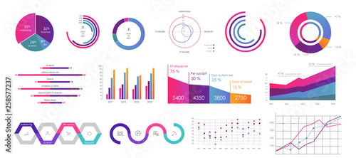Editable Infographic Templates. Use in corporate report, marketing, annual report. Network management data screen with charts, diagrams. Hud vector interface