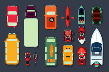 Transport Icon Set. Top View O...