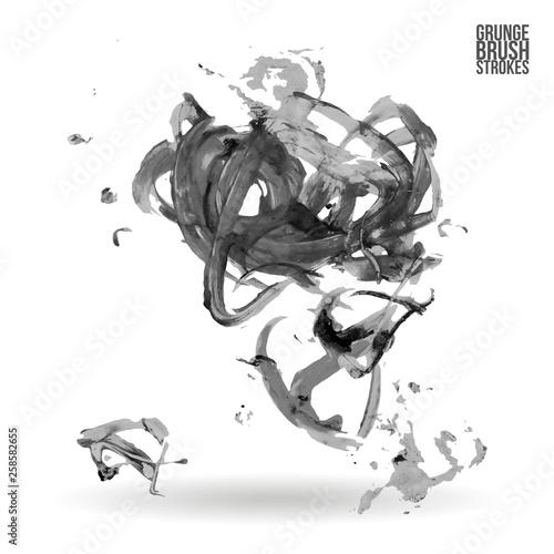 Staande foto Schilderingen Grey brush stroke and texture. Grunge vector abstract hand - painted element. Underline and border design.