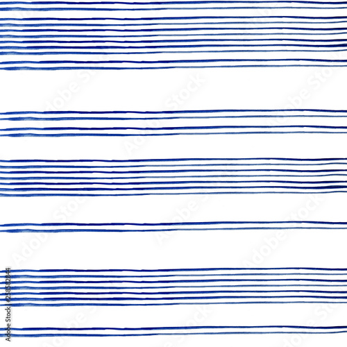 Fotografia  conecte blue stripes of watercolor paint on white background