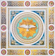Dove Of The Holy Spirit In The Ceiling Of The Church Of Santo Spirito Dei Napoletani In Rome, Italy.