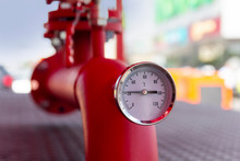 Equipment Of The Boiler-house, - Valves, Tubes, Thermometer Close Up