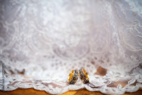 Cadres-photo bureau Tortue Two elegant wedding rings on a white dress background. Romantic accessories for bride and groom. Wedding jewelry. Close-up