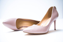 Women's Beige Shoes On Isolation