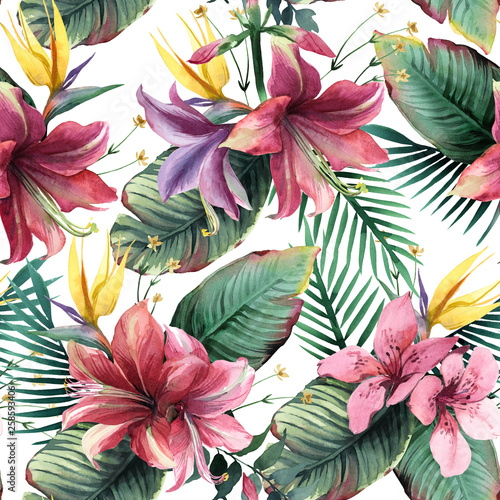 Watercolor seamless pattern of tropical flowers and leaves on white background