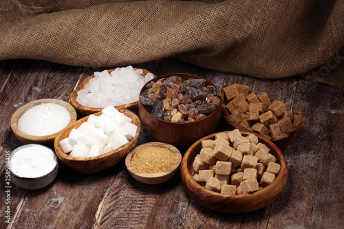 Garden Poster Cookies Various types of sugar, brown sugar and white on rustic wooden table