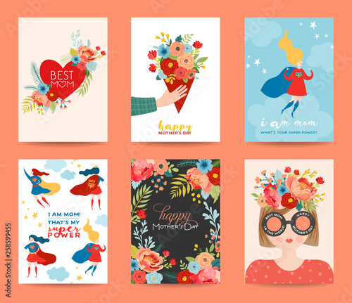 Obraz Mothers Day Greeting Card Set. Happy Mother Day Design with Woman Superhero Character and Flowers Bouquet. Floral Spring Banner, Poster, Flyer. Vector illustration - fototapety do salonu