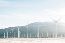 Windmills At The San Gorgonio Pass Wind Farm In Palm Springs, California
