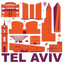 Tel Aviv Culture Travel Set, Famous Architectures And Specialties In Flat Design. Business Travel And Tourism Concept Clipart. Image For Presentation, Banner, Website, Advert, Flyer, Roadmap, Icons