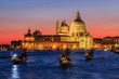 Venice, Italy. View of Basilica di Santa Maria della Salute at night.