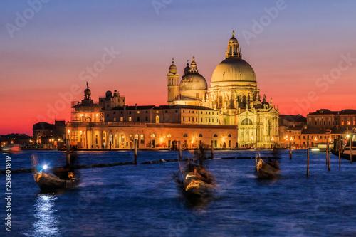 Poster Venice Venice, Italy. View of Basilica di Santa Maria della Salute at night.