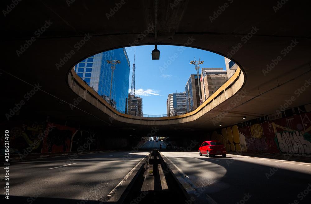 Fototapeta Underground passage to the beginning of Avenida Paulista, Sao Paulo, Brazil