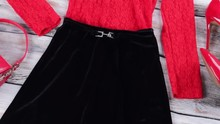 Red Top With Black Skirt.