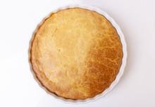 Tasty Homemade Pie On White Background