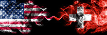 United States Of America Vs Switzerland, Swiss Smoky Mystic Flags Placed Side By Side. Thick Colored Silky Smoke Flags Of America And Switzerland, Swiss