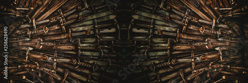 Metal knight swords background Tablou Canvas