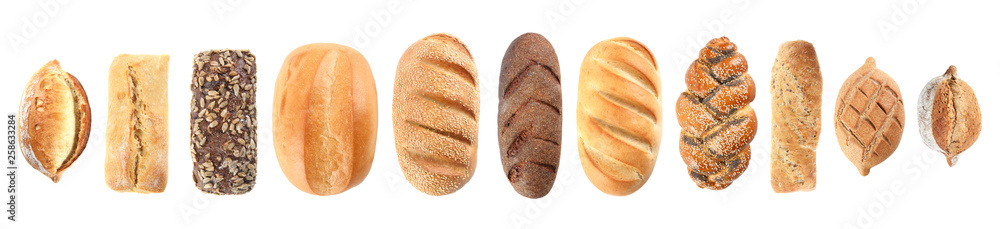 Fotografie, Obraz  Set of fresh bread on white background, top view