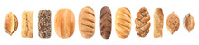 Set Of Fresh Bread On White Background, Top View